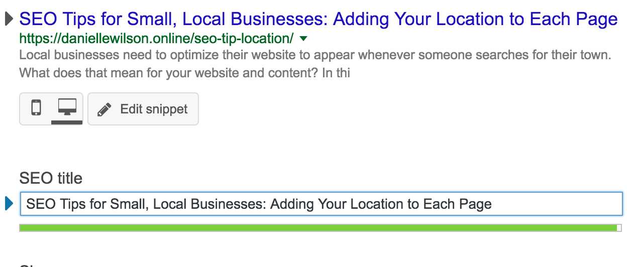 Using the Yoast Plugin for your small business location SEO